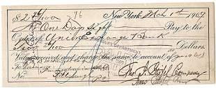 1909 New York City Bank Check