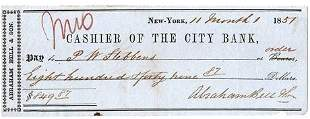 1857 New York City Bank Check  Abraham Bell & Son
