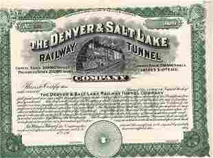 190_ Denver and Salt Lake Railway Tunnel Company Stock