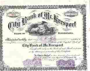 1913 City Bank of Mc. Keesport Pennsylvania Stock