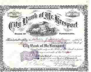1912 City Bank of Mc. Keesport Pennsylvania Stock