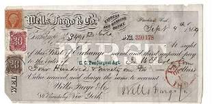 1869 Wells Fargo & Co. Check California