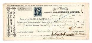 1864 Treasury Warrant 30th volunteer Infantry Regiment