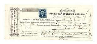 1864 Treasury Warrant 32nd Volunteer Infantry Regiment