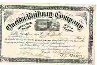 1885 Oneida Railway Company Stock Certificate