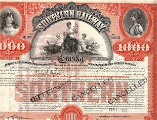 1923 Southern Railway Company Gold Bond Certificate