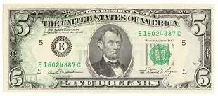 1981 $5 Federal Reserve Note Transfer Error