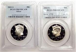 Group of 2 2003-S Kennedy Half Dollars PR-69 DCAM, One