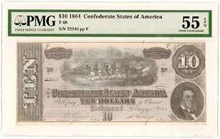 Type 68 Error 1864 $10 Confederate Note - Missing