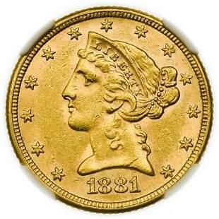 1881 $5 Liberty Head Gold Half Eagle NGC MS-61