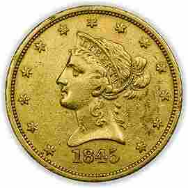 1845-O Repunched Date $10 Liberty Head Gold Eagle