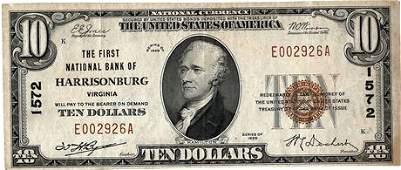 "Fr.1801-1 1928 $10 National Bank Note ""National Bank of"