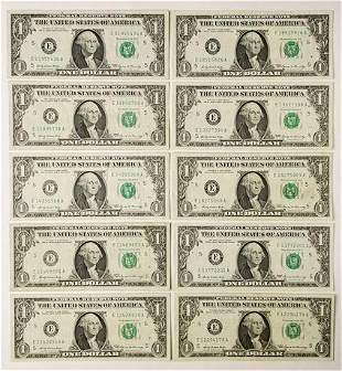 Group of 10 1903-E 1969 $1 Federal Reserve Notes