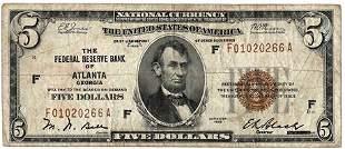 Fr.1850-F 1929 $5 Federal Reserve Bank of Atlanta Note