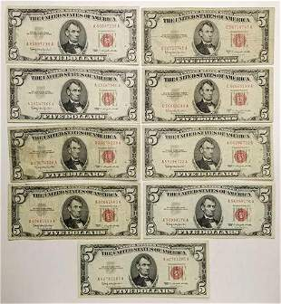 Group of 8 1953/ 1963 $5 Legal Tender Notes