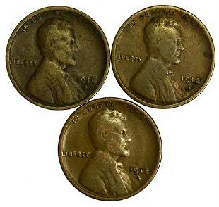 Group of 3 Lincoln Wheat Cents 1912-D, 1913-S, 1916-D