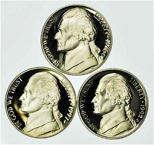 Group of 3 Proof Jefferson Nickels 1976, 1992-S, 1997-S