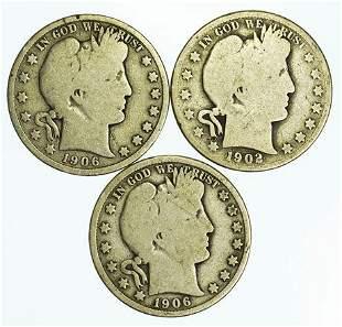 Group of 3 Barber Half Dollars 1906-D, 1906, 1902
