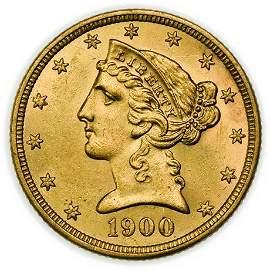 1900 $5 Liberty Gold Half Eagle