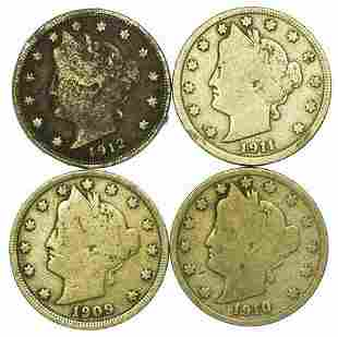 Group of 4 Liberty V Nickels  1909, 1910, 1911, 1912