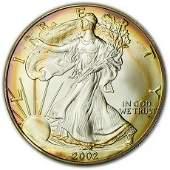 2002 Silver Eagle Toned PCI MS-70