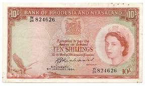 RHODESIA and NYASALAND. P#20b 1961 Ten Shillings