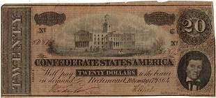 Type 67 $20 Confederate States of America Note