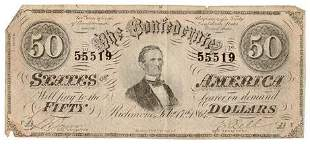 Type 66 $50 Confederate States of America Note