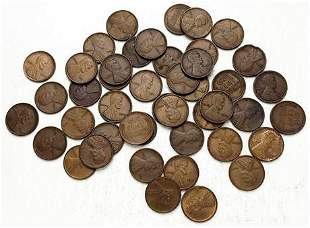 Roll of 45 1909 VDB Lincoln Wheat Cents