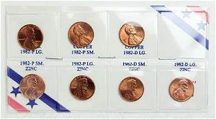 Set of 7 1982 Copper and Zinc Lincoln Cents