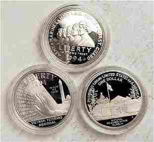 Set of 3 1994 Proof Commemorative US Veterans Silver