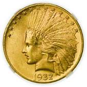 1932 $10 Indian Gold Eagle NGC MS-64 CAC
