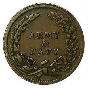 1863 Army/ Navy Civil War Token Eroded Obverse Die