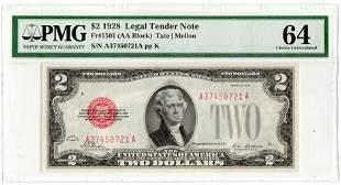 Fr.1501 (AA Block) 1928 $2 Legal Tender Note Tate |