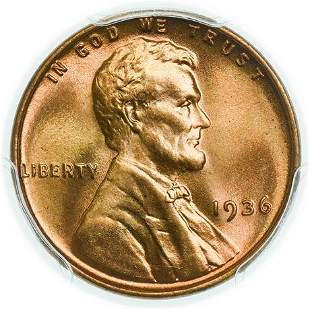 1936 Lincoln Wheat Cent PCGS MS-66 RD