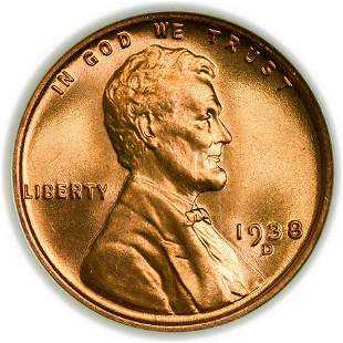 1938-D Lincoln Wheat Cent NGC MS-67 RD