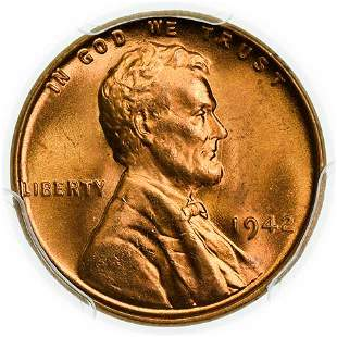 1942 Lincoln Wheat Cent PCGS MS-66 RD