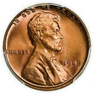1945 Lincoln Wheat Cent PCGS MS-66+ RD