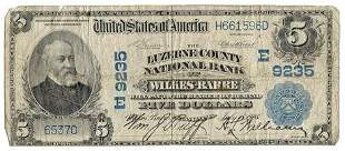 1902 $5 National Bank Note Luzerne County National Bank