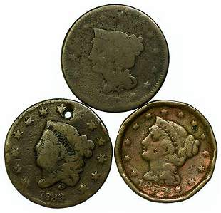Group of 3 Large Cent Coins 1833, 1840, 1852
