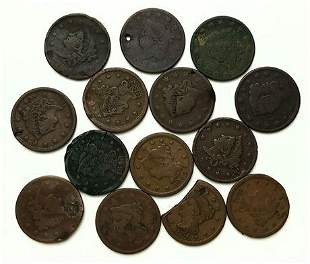 Group of 14 Large Cents