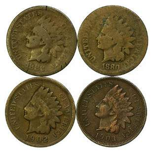 Group of 4 Indian Head Cents 1880, 1882, 1902, 1903