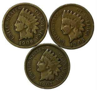 Group of 3 Indian Head Cents 1905, 1906, 1907