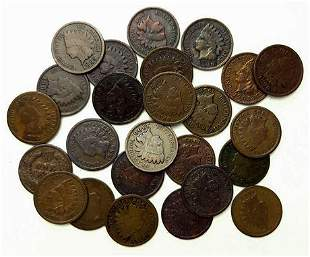 Roll of 25 Indian Head Cents 1887 - 1908