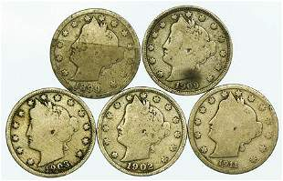 Group of 5 Liberty V Nickels 1899, 1902, 1903, 1909,