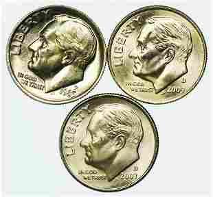 Group of 3 Roosevelt Dimes 1985-P, 2007-D, 2009-D