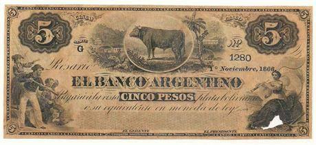 ARGENTINA. P#S1526 1866 Five Pesos