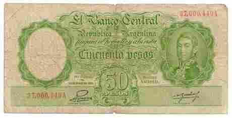ARGENTINA. P#266c L. 1935 (1942- 54) 50 Pesos