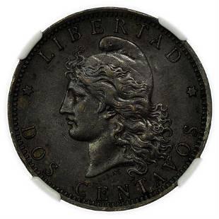 ARGENTINA. 1882 Two Centavos NGC AU-53 BN