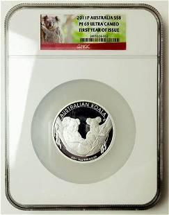 AUSTRALIA. 2011-P Eight Dollars 5oz Silver Koala NGC